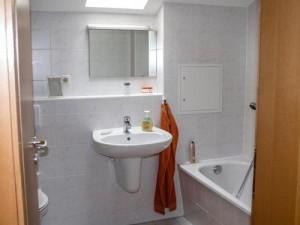 Das geräumige Badezimmer bietet großzügige Ablagemöglichkeiten